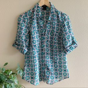 Ann Taylor Geo Print Turquoise 3/4 Button Up